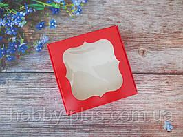 Коробка для изделий ручной работы с окном, 100х100х30 мм, цвет красный, 1шт