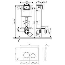 Набор инсталляция 4 в 1 Qtap Nest ST с круглой панелью смыва QT0133M425M11112CRM, фото 2