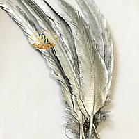 Перо петуха Silver длинна 30-35см, ширина 2,5см, 1шт (двусторонняя прокраска)