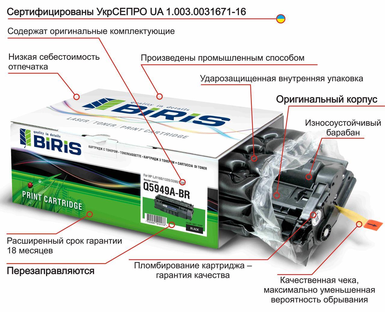 Картридж  CF230A для HP M203/M227 с ЧИПом оригинальный Biris