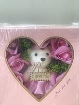 Подарункові набори мила ручної роботи з троянд з мишком на подарунок коханій дівчині