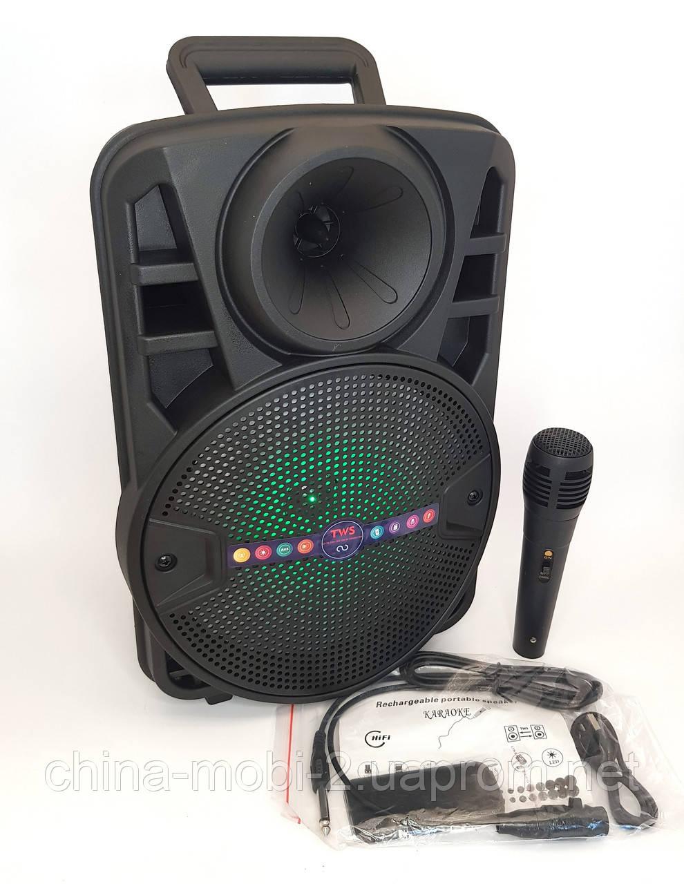 Boombox ALP-803 10W, колонка-валіза з світломузикою і мікрофоном, чорна