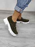 Замшевые туфли на платформе  из натурального материала, фото 1