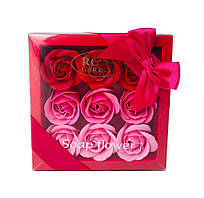 Подарочный набор с розами из мыла Soap Flower 9 шт Розовый