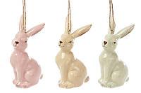 Пасхальное подвесное украшение Кролик 8 см, керамика 3 дизайна