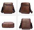 Мужская сумка через плечо из натуральной кожи Marrant - коричневый, фото 3
