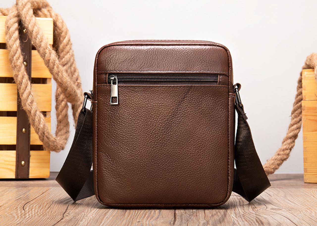 Мужская сумка через плечо из натуральной кожи Marrant - коричневый