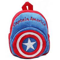 Детский плюшевый рюкзак для дошкольников Капитан Америка. Мягкий рюкзачок для мальчика в садик Capitan America