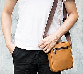 Мужская сумка через плечо из натуральной кожи Marrant - светло коричневый