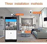 Відеокамера з датчиком руху Full HD радіоняня поворотна Wi-Fi IP-камера відеоспостереження відеоняня, фото 4