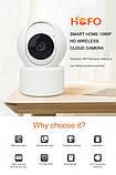 Відеокамера з датчиком руху Full HD радіоняня поворотна Wi-Fi IP-камера відеоспостереження відеоняня, фото 3