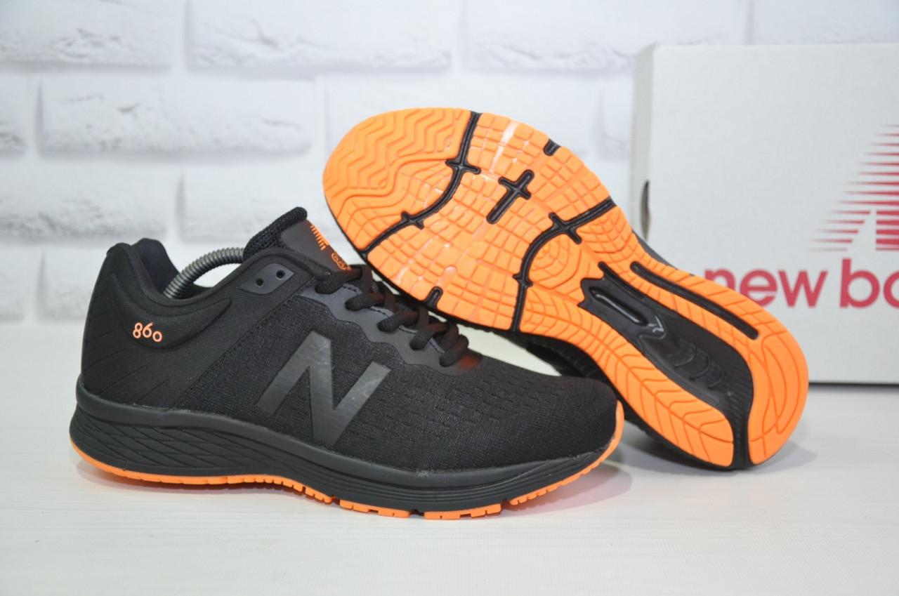 Кросівки чоловічі в стилі New Balance 860 чорні з помаранчевим сітка