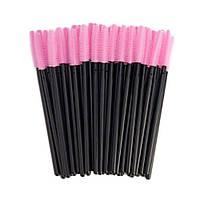Силиконовые щеточки одноразовые для наращивания ресниц (кисточки под тушь) розовые с черной ручкой, 50 шт.