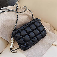 Мини сумка клатч женская, Мини сумка на плечо, Сумка из кожзама Черная  FS-3721-10, фото 1