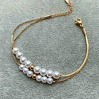 Браслет Xuping 17-20см медичне золото позолота 18К перли 5-6мм 2294, фото 1