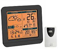 Цифровая метеостанция для дома с беспроводным датчиком TFA SKY Black (123*52*117 мм)