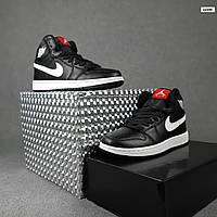Мужские демисезонные кроссовки Nike Air Jordan (черные на белой) повседневная обувь 10396