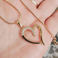 Кулон сердце с цепочкой снейк 1мм 50см xuping медицинское золото позолота 18К  5314