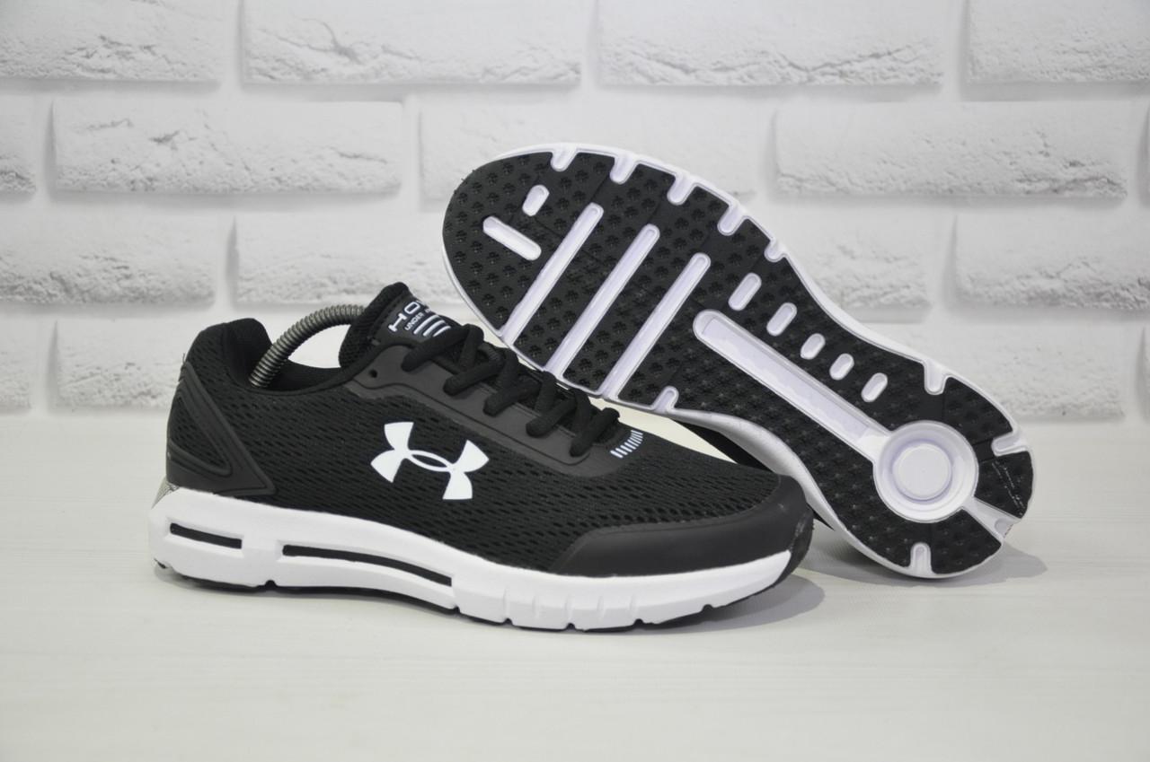 Кросівки чоловічі в стилі Under Armour чорні на білій підошві сітка