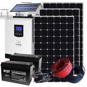 2.4 кВт автономная солнечная электростанция с инвертором ИБП 2,4кВт/24В МРРТ и резервом АКБ 2,4 кВт*ч