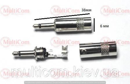 01-00-033. Штекер 3,5 моно, корпус метал, без хвостової частини, діам.-4,5мм, Yongsheng, сріблястий