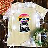Мужская футболка с принтом  - Мопс и закат