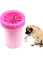 Лапомойка для собак Soft Gentle Silicone Bristles рожевий (0490), стакан для миття   мойка для лап