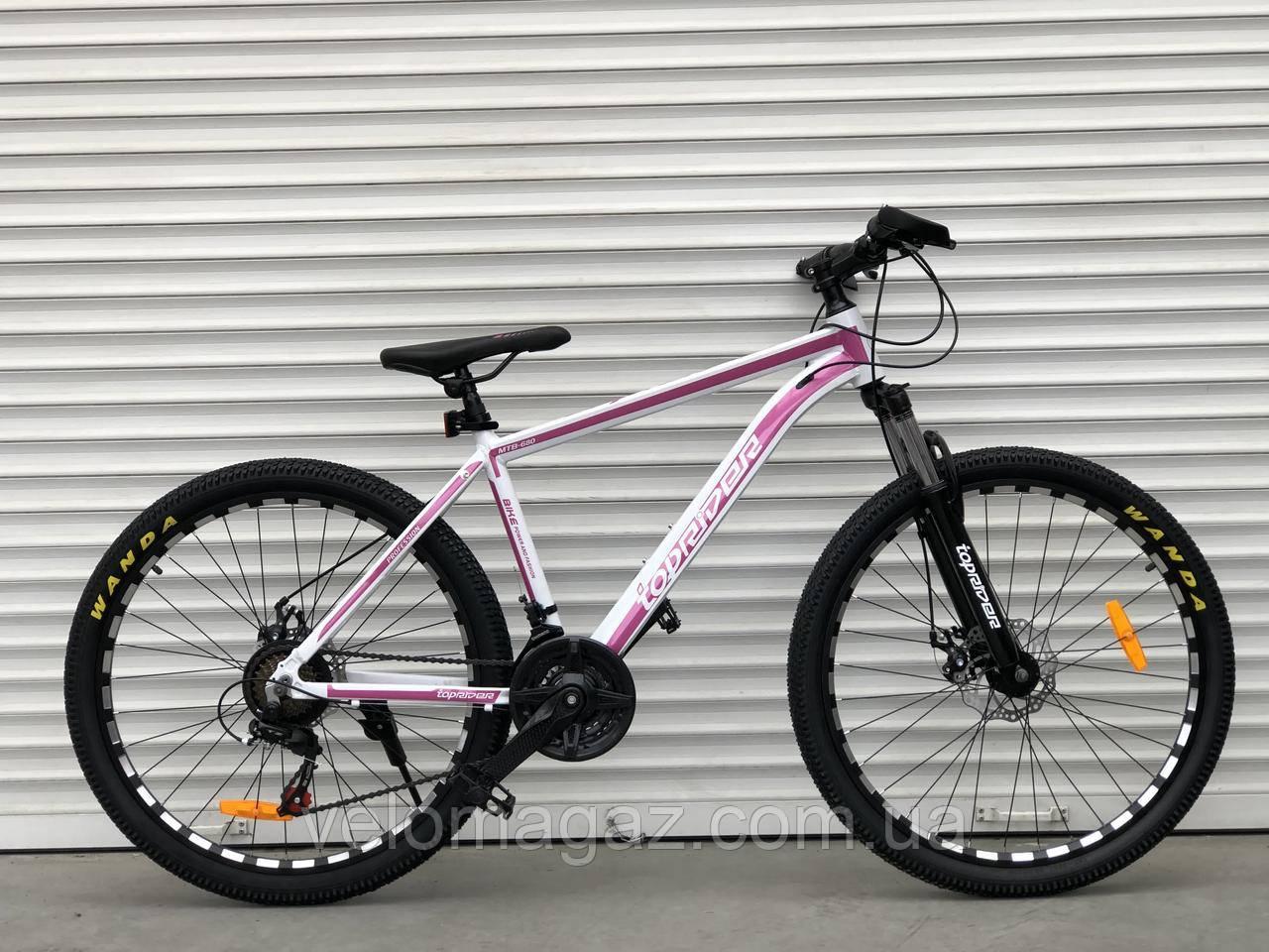"""Велосипед алюмінієвий гірський TopRider-680 26"""" біло-рожевий"""