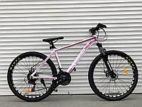 """Велосипед алюмінієвий гірський TopRider-680 26"""" біло-рожевий, фото 1"""