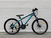 """Велосипед алюминиевый горный TopRider-680 24"""" синий, фото 1"""