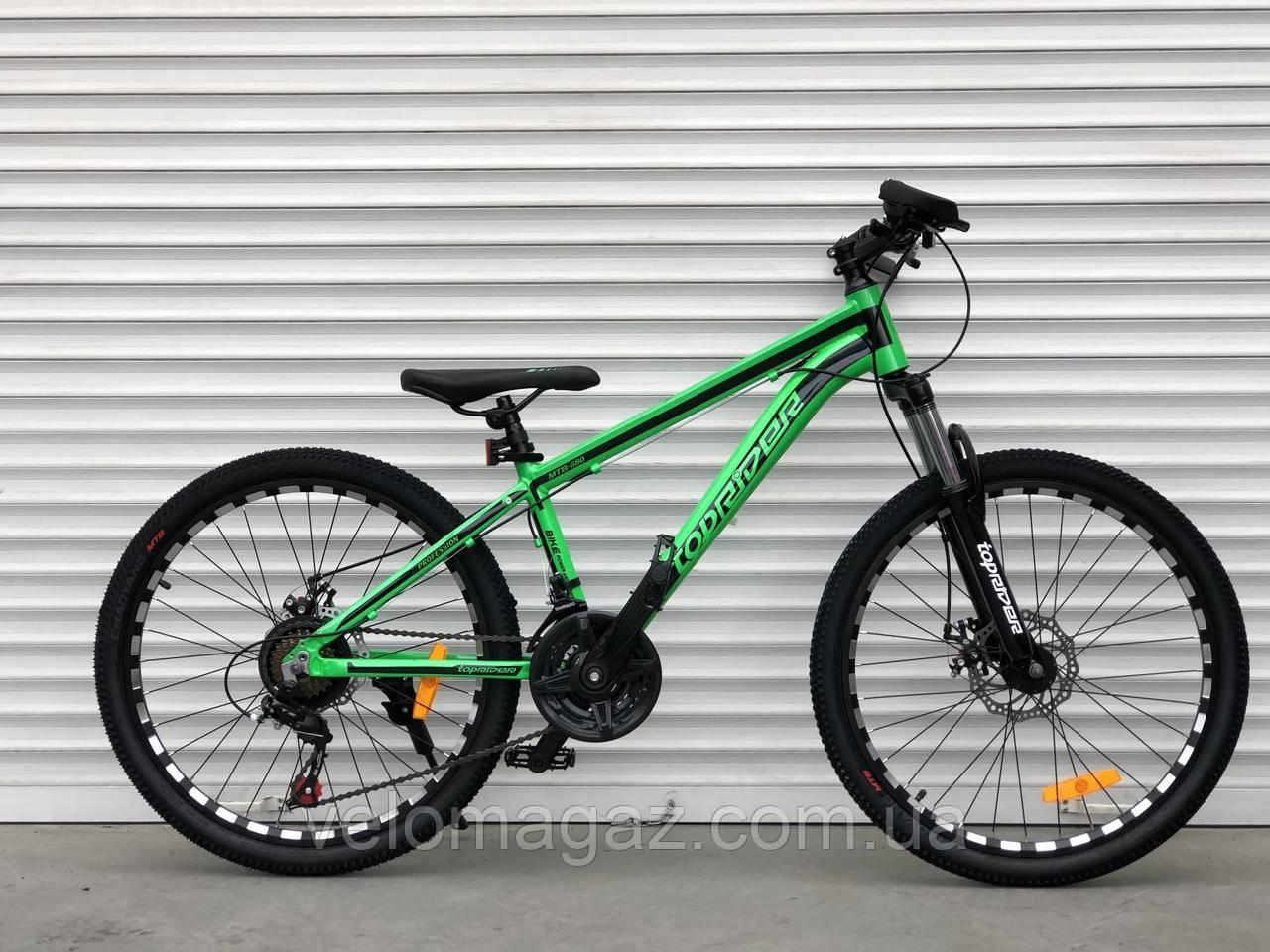 """Велосипед алюмінієвий гірський TopRider-680 24"""" салатовий"""