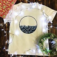 Чоловіча футболка з принтом - хвилі в колі