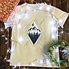 Мужская футболка с принтом - Горы в ромбе