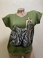 Жіноча літня футболка для дівчат з камінням Зебра розмір 44-50, колір уточнюйте при замовленні, фото 1