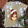 Мужская футболка с принтом - Крыса в новогодней шапке