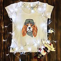 Жіноча футболка з принтом - Пес в окулярах