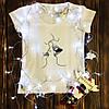 Женская футболка  с принтом - Рисунок - очертание поцелуя