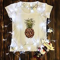 Женская футболка  с принтом - Леопардовый ананас