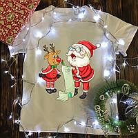 Мужская футболка с принтом - Дед мороз и олень пишут список