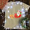Чоловіча футболка з принтом - Дід мороз на санях