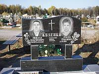 Двойной памятник на могилу горизонтальный из гранита образец №1