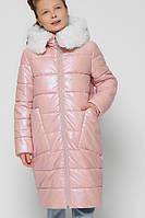 Длинная зимняя куртка для девочки розовая теплая