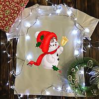 Чоловіча футболка з принтом - Сніговик в шапці