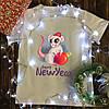 Чоловіча футболка з принтом - Щур з кулею - Merry Christmas