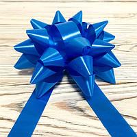Бант декоративный диаметр 12см, цвет синий с лентой