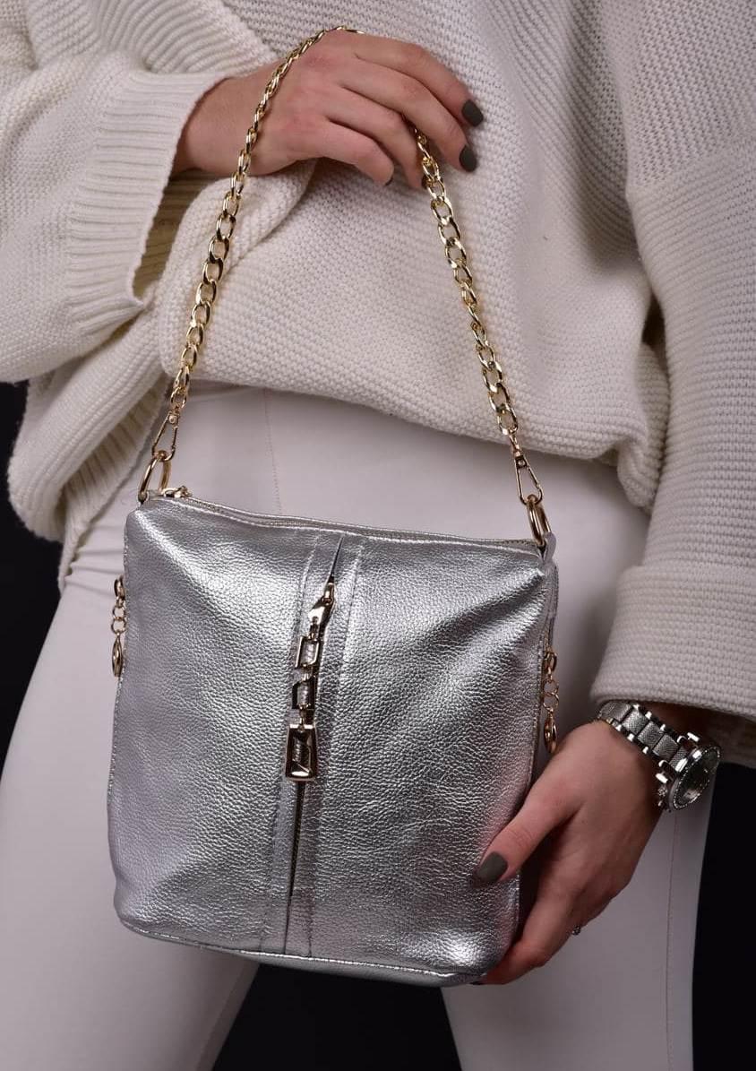 Женская серебристая сумка код 7-003