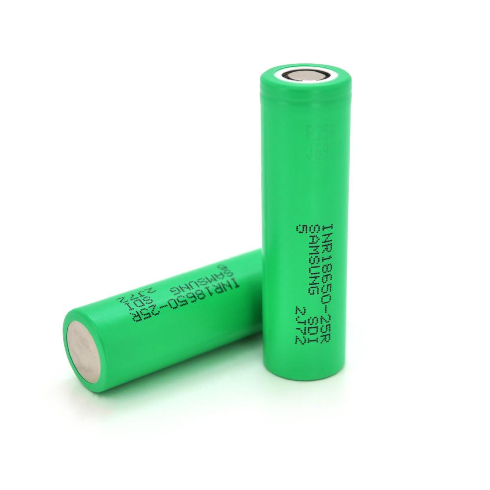 Аккумулятор 18650 Li-Ion Samsung INR18650-25R, 2500mAh, 20A, 4.2/3.6/2.5V, GREEN, PAPER BOX