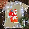 Мужская футболка с принтом - Санта в дымоходе