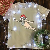 Чоловіча футболка з принтом - Літаючий дід мороз