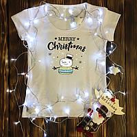 Женская футболка  с принтом - Merry Christmas - снеговик
